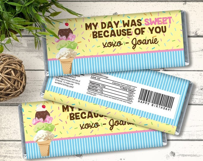 Ice Cream Theme Candy Bar Wrappers - Ice Cream Favor, Chocolate Bar Labels | Editable Text - Instant Download PDF Printable