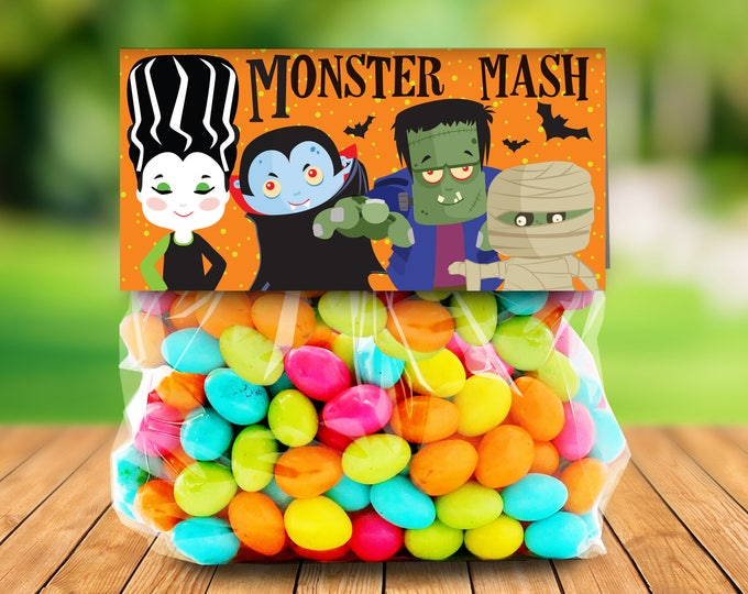 "Monster Mash Treat Baggie Toppers - Halloween Party, Halloween Favor, 4"" Treat Bag Topper 