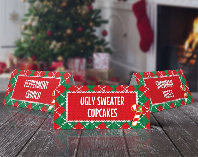Christmas Food Labels - Ugly Sweater Party, Name Place Cards, Buffet Tags, Rock Your Ugly | EDITABLE Text - INSTANT Download Printable PDFs