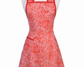 Stella Pinafore Retro Apron - Dainty Red Daisies Vintage Inspired 50s Style Kitchen Apron with Personalized Embroidery Option (DP)