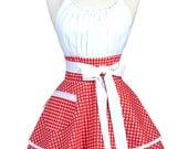 Flirty Chic Retro Apron - Womens Sexy White Red Gingham Check Vintage Rockabilly Pinup Apron with Pocket (DP)