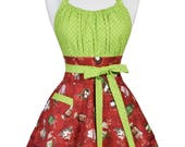 Flirty Chic Retro Apron - Womens Christmas Holiday Winter Hot Cocoa Sexy Pinup Kitchen Apron with Pocket (DP)