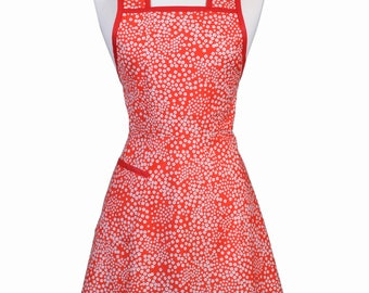 Stella 50s Style Retro Apron - Dainty Red and White Daisies with Gray Womans Vintage Inspired Cute Housewife Kitchen Apron with Pocket (DP)