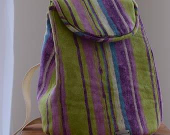 Backpack Striped Green and Purple Waterproof Lining