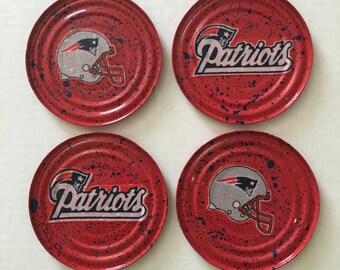 FOOTBALL COASTERS KF220  Set of 4 (New England Patriots Fabric)