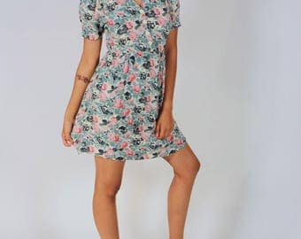 Vintage 80s Sweetheart Floral Mini Dress