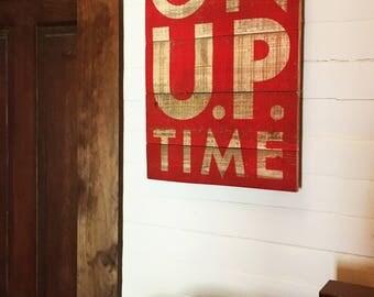 "On ""U.P"" time (Michigans Upper Peninsula ) 18x27 on Cedar- inside, outside"