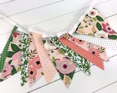 Baby Girl Nursery Decor Bunting Fabric Banner Garland Baby Bunting Fabric Bunting Boho Bohemian Flower Floral Blush Pink Green