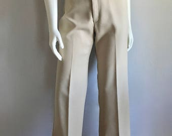 Vintage Women's 70's Tan Pants, High Waisted, Straight Leg (M)
