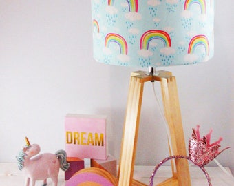 Pastel Blue Rainbow Fabric Lampshade on a Wooden Lamp Base - Children's Lamp - Nursery Light - Kids Lampshade - Free Shipping