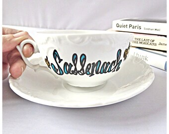 Sassenach, Tea Cup, Funny Coffee Cup and Saucer, Romantic Valentine Gift for Wife, Girlfriend, Outlander Mug, Claire Fraser, Jamie, Gabaldon