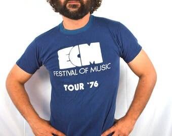Vintage 1970s 70s 1976 Jazz Festival Music Tshirt Tee Shirt
