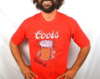 Vintage 1970s 70s 1974 Coors Red Beer Tee Pocket Shirt Tshirt