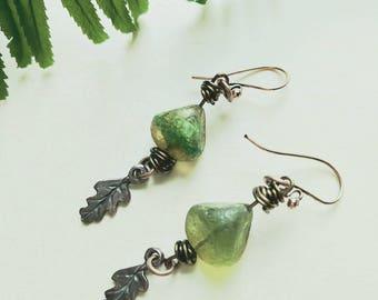 Dangly earthy earrings with a little leaf!