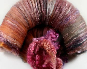 Sienna Rose Wild Card Bling Batt for spinning and felting (4.1 ounces), batt, art batt