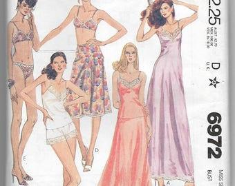 Uncut, Misses Size 18, Vintage 1970s Sewing Pattern, McCalls 6972, Lingerie, Slip, Camisole, Half Full, Panties, Bra Bikini, Tap Pants, Lace