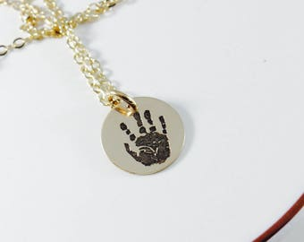 Small Yellow Gold Filled Actual Handprint Necklace - Real Handprint Necklace - Yellow Gold - Minimalist Memorial Necklace