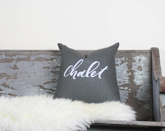 "18""x18"" Dark Gray Linen with White Ink ""Chalet"" Pillow Cover"
