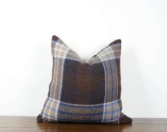 "20""x20"" Brown and Blue Vintage Wool Pillow Cover 