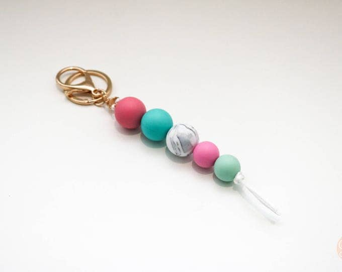 Pink, Mint and Marble Beaded Silicone Sensory Keychain or Zip Pull.