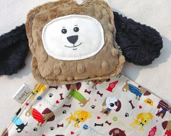 Puppy Dog Lovey Lovie Blanket - Tan Black Red Yellow Blue - Minky and Cotton - Gentle Rattle - Crinkle Crackle Sound - Puppy Comfort Blanket