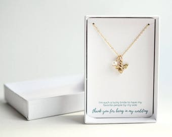 Wedding Organizer Gift - Gift From Bride - Thank You Gift - Gold Bee Necklace - Custom Wedding Gift - Personalized Birthstone Bee Necklace