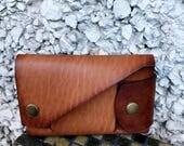 Brown Leather Minimalist Wallet for Cash and Credit Card - Buddha is always with me