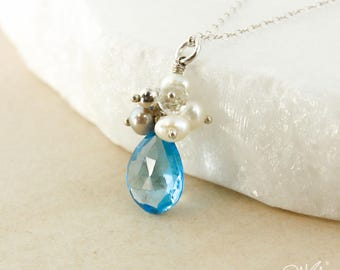 Silver Swiss Blue Topaz & Pearl Cluster Necklace - 925 Silver - December Blue Topaz