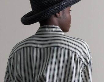 Vintage 90s Black Woven Straw Hat / Summer Hat / Sun Hat
