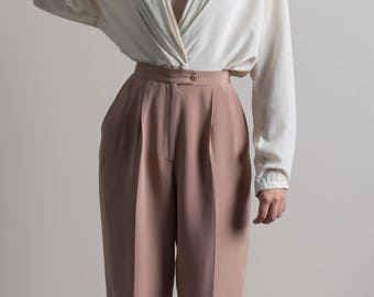 Vintage 90s Dusty Pink High Waisted Silk Trousers | 4