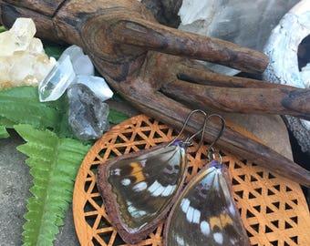 Butterfly Wings Earrings, Real Butterfly Jewelry, Leather Butterfly, Steampunk, Suede, Tribal, Boho Organic bohemian jewelry LBW003