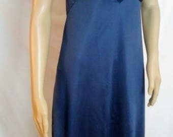 1960's Lace Slip  Dark  Blue with Scalloped lace