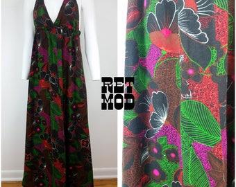 Lovely Deep V Vintage 70s Black, Green, Red Floral Polynesian Fuzzy Halter Maxi Dress