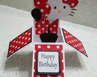 Red Kitty Birthday Card
