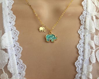Elephant & Baby Necklace,Elephant Jewelry, Elephant Baby Necklace, gold Elephant Necklace