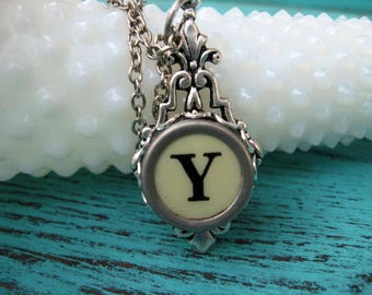 Typewriter Key Jewelry - Typewriter Necklace - Letter Y - Typewriter Charm - Vintage Key