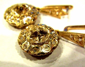 Antique Handmade 14K Yellow Gold Victorian Edwardian Old Mine or Rose Cut Diamond Pierced Earrings Unique Leverback Closure 5g xp