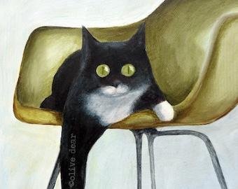 Cat on Eames Chair fine art print