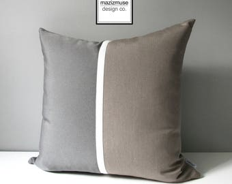 Decorative Taupe & Grey Pillow Cover, Modern Outdoor Pillow Cover, Color Block Pillow Cover, Masculine Sunbrella Cushion Cover, Mazizmuse