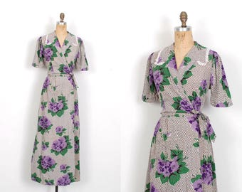 Vintage 1940s Dress / 40s Plaid and Floral Print Maxi Dress / Black and Purple ( medium M )