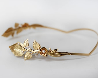 Magical Paula Headband, Golden Leaves Crown, Bridal Hair Accessories, Hand Made Gift, Gold Leaves, Greek Goddess Crown, Grecian Wreath