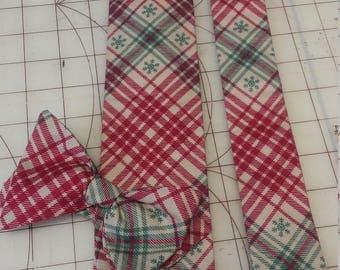 Vintage Plaid Snowflake Christmas Neckties in bow tie, skinny tie, and standard tie styles, kids or adult sizes