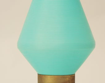 Mid Century Aqua Beehive Lamp-Tripod Danish Turquoise Atomic Vintage Table Lamp