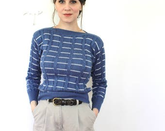 Nautical Sweater / 1970s Sweater / 70s 80s Blue Striped Fitted Knit Sweater