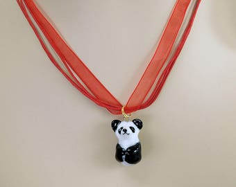 porcelain hand crafted panda figurine charm or pendant w free organza necklace Anita Reay ceramic pandabear totem art