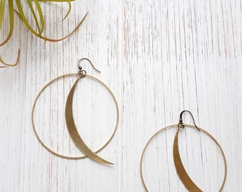 Boho Hoop Earrings Moon Earrings Moon Hoop Earring Boho Moon Hoop Crescent Moon Jewelry Brass Earrings Big Earrings Lightweight Earrings