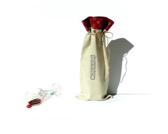 Wine bottle bag, fabric wine sleeve, Cheers, Christmas bag, snowflakes, wine bag holder, BYOB, wine carry bag, wine tote bag, wine gift bag