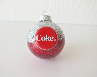 Coke Ornament Recycled Bottle Cap - Silver and Red
