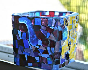 Mosaic Stained Glass Candle Holder, Vase, Wedding, Birthday, Hand Cut Stained Glass, Mosaic Candle Holder, Stained Glass Mosaic, Anniversary