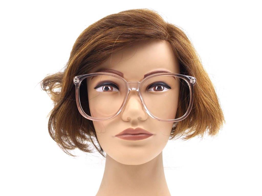 vintage 80s deadstock round eyeglasses oversized frames clear ...